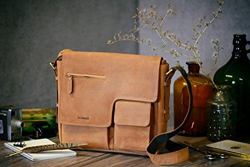 vintage rétro sac muscade véritable Birmingham de LEABAGS de en Noix buffle cuir Marron bandoulière wIT1Aqt