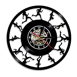 ZFANGY Vinyl Record Wall Clock Joggers Runners Wall Art Wall Clock Running Track and Field Sports Vinyl Record Wall Clock Cross Country Runners Retro Clock,12 inches