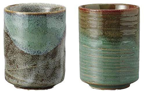 Mino Yaki(ware) Japanese Yunomi Tea cup set,Aoshino, Chisuji, set of 2
