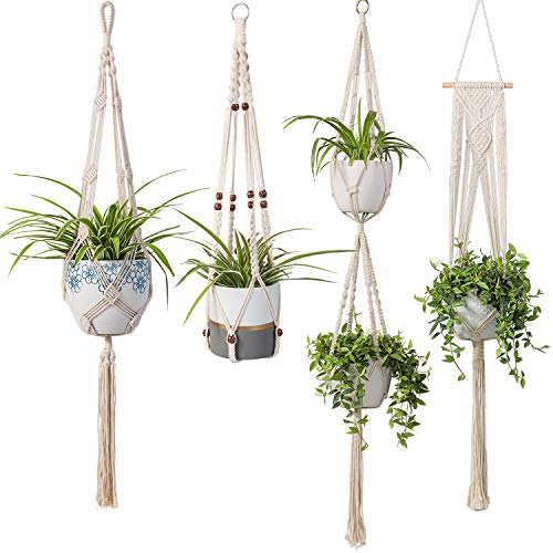 (Macrame Plant Hangers - 4 Pack in Different Designs Handmade Indoor Wall Hanging Planter Plant Holder - Modern Boho Home Decor)