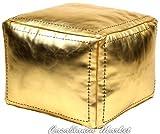 Casablanca Market Moroccan Square Faux Metallic Cotton Stuffed Leather Pouf, Gold