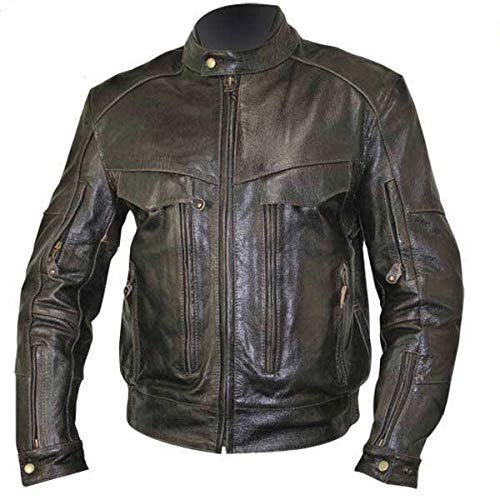 - Xelement B7496 'Bandit' Men's Retro Brown Advanced Level-3 Distressed Buffalo Leather Motorcycle Jacket - Medium