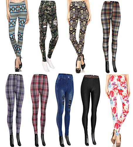 Wholesale Lots Leggings for Women - 9-Pack Tribal Floral Plaid Checker Print from echomerx