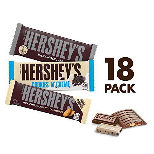 HERSHEY'S Halloween Chocolate Candy Bar Variety Pack, Milk, Milk with Almonds, and Cookies & Creme, 18 Count Gift (Assorted Eyeliner)
