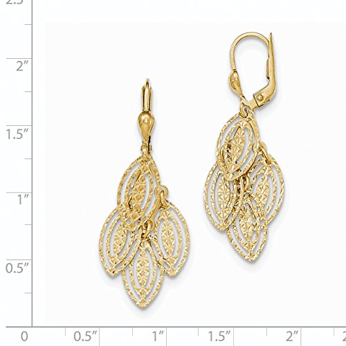 ICE CARATS 14k Yellow Gold Textured Drop Dangle Chandelier Leverback Earrings Lever Back Fine Jewelry Gift Set For Women Heart by ICE CARATS (Image #2)