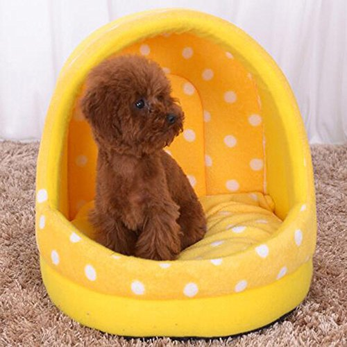 KAKA(TM) Pets Cute Warm Bed Dogs Sleeping House Dot Pattern Yellow Plus One Mat M