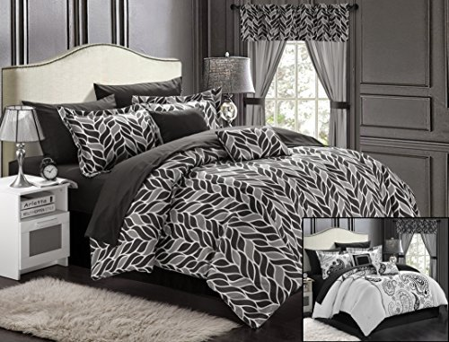 Chic Home Olivia 20-Piece Comforter Set Reversible Paisley Print Complete Bed in a Bag with Sheet Set, Window Treatments, and Decorative Pillows, King Black/Grey