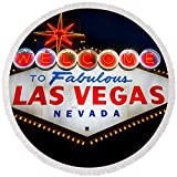 Pixels Round Beach Towel With Tassels featuring ''Fabulous Las Vegas Sign'' by Steve Gadomski