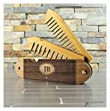 Wood and Bamboo Beard and Mustache Folding Comb, Pocket Knife Style