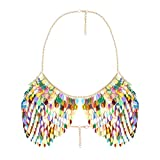 lan27 Sexy Body Chain Fashion Sequins Bikini Bling Shoulder Necklaces Bra Body Jewelry Summer Beach Party Women Harness
