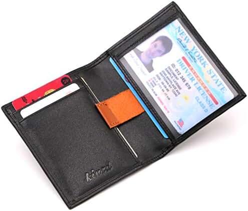 Mens Slim Front Pocket Wallet Carbon Fiber Bifold Trifold Wallet RFID Blocking