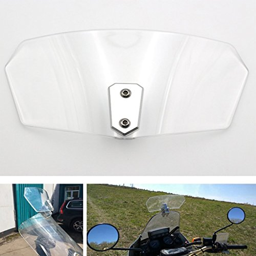 Adjustable Clip On Windshield Windscreen Extension Spoiler Wind Deflector For Universal Motorcycle (Clear)
