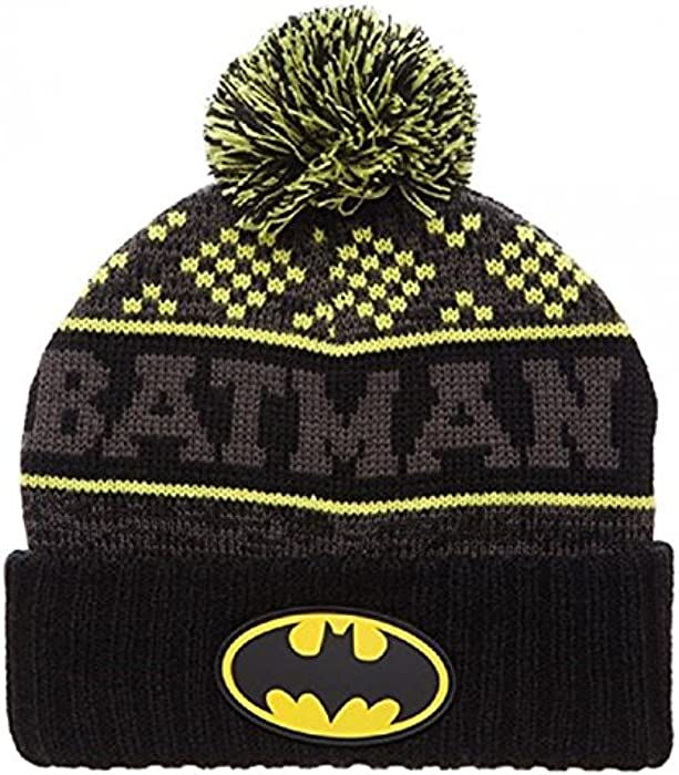 5cfbd5fff96 Amazon.com  DC Comics Batman Logo Cuff Pom Beanie Hat  Clothing