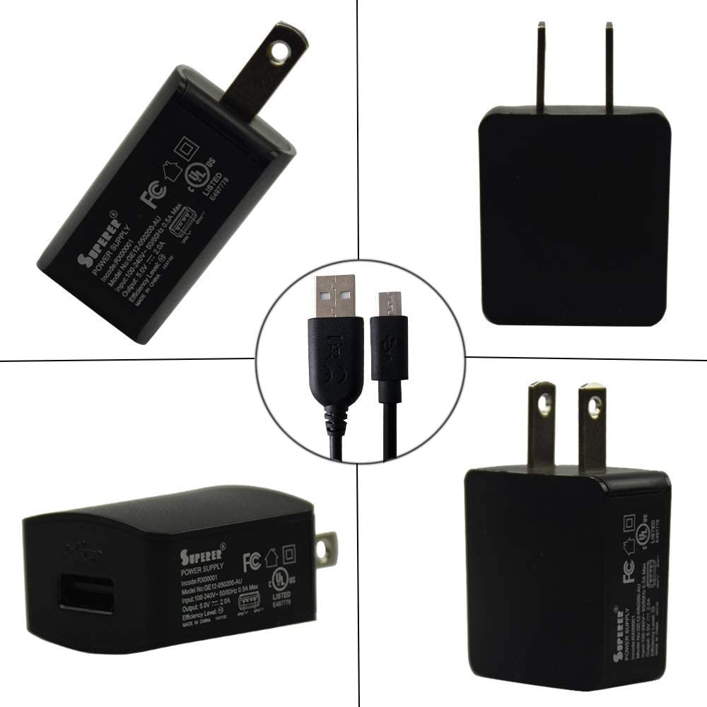 AC Charger for Anker Powercore 10000 Model A1263G12 AK-848061009422 AK-848061057539 AK-848061067910,PowerCore Lite 10000 Model AK-A1232011 AK-A1232021 with 5FT Long Charging USB Cable
