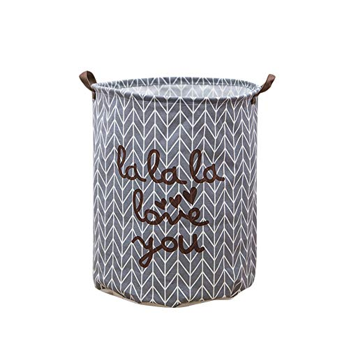 Jumberri Collapsible Waterproof Canvas Storage Barrels Basket Bins Container with Durable Cotton Handles for Bedroom, Closet, Toys, Laundry (Black/Gray/Colorful) Lattice/Floral/Pattern (B) - Canvas Floral Basket