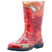Botas impermeables para lluvia y jardín Sloggers para mujeres con plantilla de confort, rojo de Paisley, tamaño 6, estilo 5004RD06
