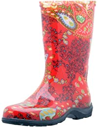 Women's Waterproof Rain and Garden Boot with Comfort Insole, Paisley Red, Size 9, Style 5004RD09