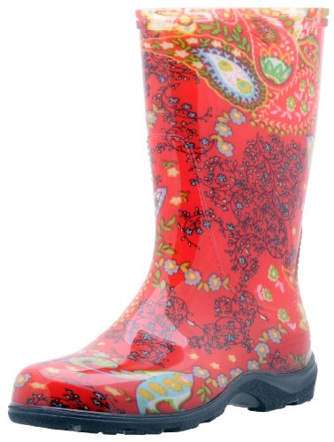 Sloggers Women's Waterproof Rain and Garden Boot with Comfort Insole, Paisley Red,...