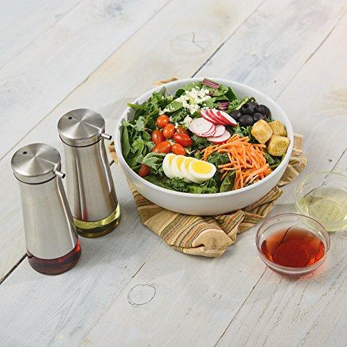 CHEFVANTAGE Olive Oil and Vinegar Cruet Dispenser Set with Elegant Glass Bottle and Drip Free Design - Red by CHEFVANTAGE (Image #1)