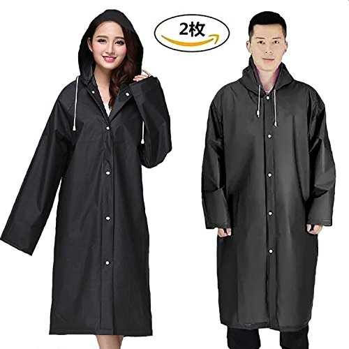 Rubber Poncho - JTENG Rain Poncho, Waterproof Portable Raincoat EVA Material with Hoods and Sleeves For adult Outdoor Rainwear, 2 piece
