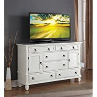 Roundhill Furniture Regitina 016 Bedroom Dresser, Queen/King, White