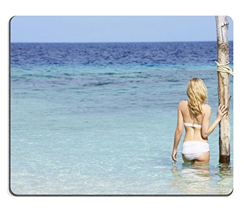 Liili Mouse Pad Natural Rubber Mousepad Woman In Bikini Standing In Beautiful Tropical Sea Photo 19530326