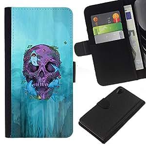 All Phone Most Case / Oferta Especial Cáscara Funda de cuero Monedero Cubierta de proteccion Caso / Wallet Case for Sony Xperia Z2 D6502 // Biker Graffiti Skull Death Deep Rock
