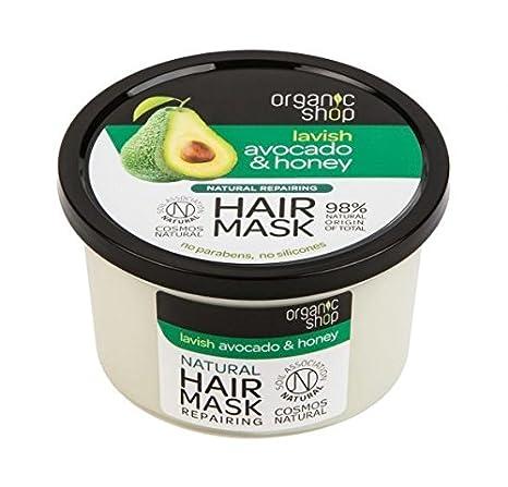 ORGANIC SHOP - Mascarilla reestructurante Aguacate y Miel - para cabellos secos y dañados - Sin siliconas y parabenos - Cosmos Natural Certified - 250 ml: ...