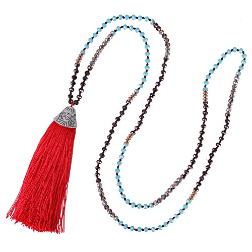 KELITCH Crystal Long Beaded Necklace Layering Fish Mouth Tassel Pendant Necklace New Jewelry (Red)