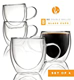 coffee mug sets of 8 - Coffee or Tea Glasses Set of 4 - 8oz Double Wall Thermal Insulated Cups with Handle