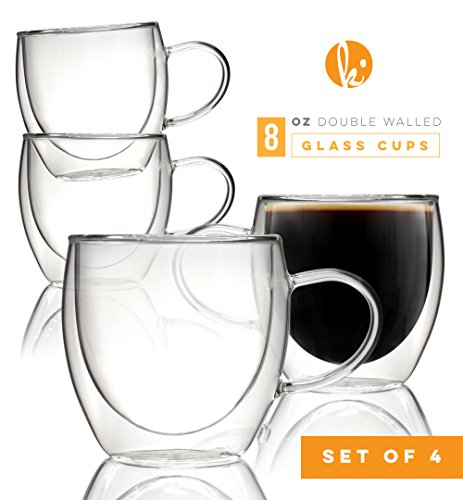 Coffee or Tea Glasses Set of 4 - 8oz Double Wall Thermal Insulated Cups with Handle