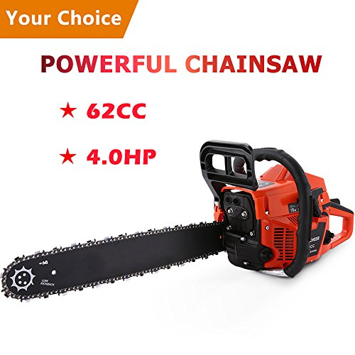 Homdox 62CC Chainsaw, 4.0HP Gas Powered Chian Saw 20inch Powerful Chainsaws,Easy to Start with Tool Kit