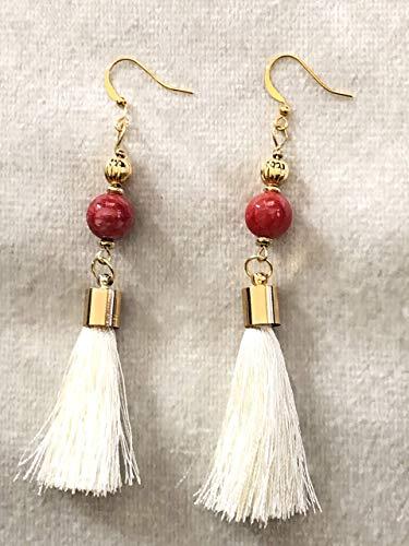Red Orange Jasper Cream Tassel Gold Earrings