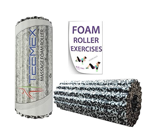 Foam Roller for Muscles & Feet - 2In1 Extra Firm, High Density, Best for Self Myofascial Release, Massage, Back Injury, Physical Therapy, Stretching, Yoga - Exercise Equipment - Free Body Workout