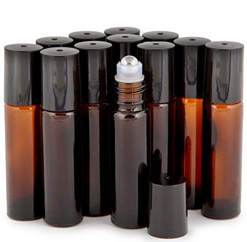 3-3 ml Droppers included PSC Products VAMB-24 24 10 ml Glass Roll-on Bottles with Stainless Steel Roller Balls Amber Vivaplex