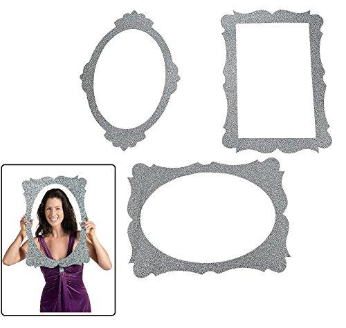 (Silver Glitter Picture Frame Cutouts - 3 Piece Set - 16