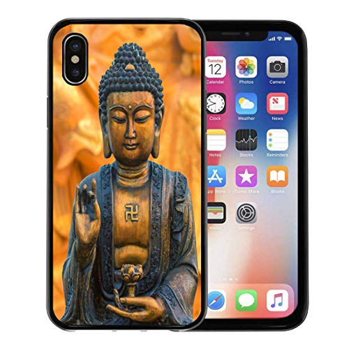 (Semtomn Phone Case for Apple iPhone Xs case,Face Buddha Statue As Amulets of Buddhism Religion Buddah China Tibet for iPhone X Case,Rubber Border Protective Case,Black)