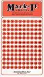 """Medium 1/4"""" removable numbered 1-120 Mark-it brand dots for maps, reports or projects - orange"""