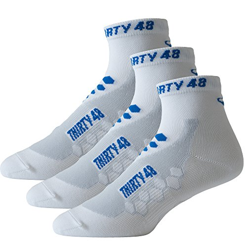 Thirty48 Low Cut Cycling Socks for Men and Women | White/Blue 3-Pack...