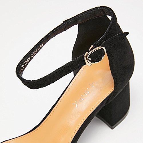Black Carrée Femelle D'été Talons Le Rough Tête Femmes Boucle Ouvrir Sandales Travail Orteil Talon Haut Suede Chaussures Yra Mode Pour Mot YOR6q
