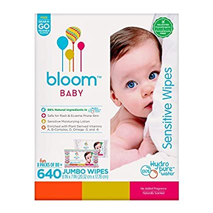 bloom BABY Toallitas Húmedas p/ Piel Sensible 640 ct. (8x80 ct) +