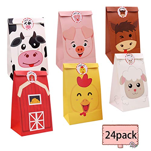 24 Pack Barnyard Farm Animal Candy Bags Gift Toy Goody Party Favor Treat Bags for Girls Boys Birthday Classroom Party baby shower supplies