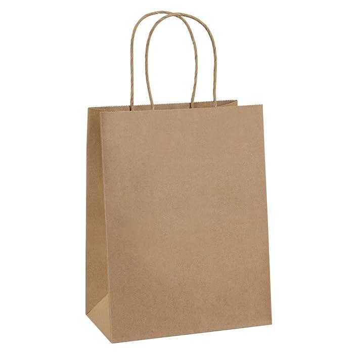 "Paper Bags 8x4.75x10.5"" 100Pcs BagDream Gift Bags,Party Bags,Cub, Shopping Bags, Kraft Bags, Retail Bags, Brown Paper Bags with Handles"