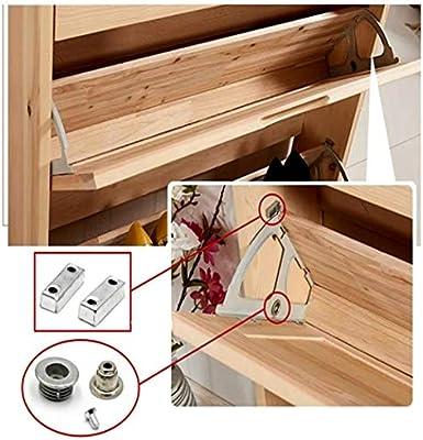 zapatero 1 kit con accesorio caj/ón de acero inoxidable 1 capa de zapatero con bisagras giratorias