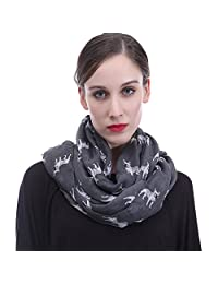 Lina & Lily French Bulldog Dog Print Infinity Loop Scarf Lightweight (Dark Grey)