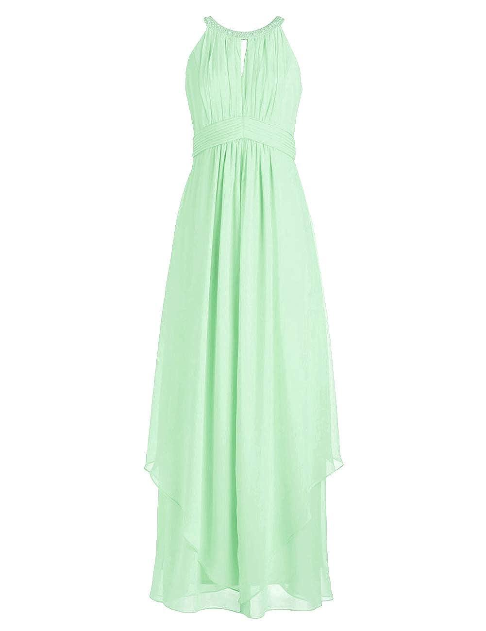 Mint Green Bridesmaid Dresses Halter Evening Party Dress Long Bridesmaid Gowns Ruffles