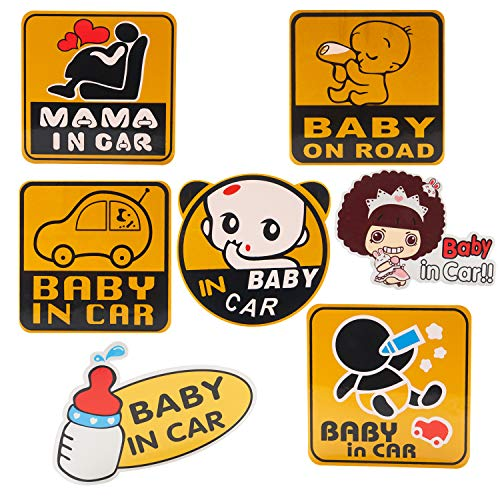 YINASI 6PCS Baby in Car/Baby on Road Sign, Decal Reflective Vehicle Car Sign Sticker Bumper for New Parents, Waterproof Baby Safety Car Sticker with 1PC Mama in Car Sticker