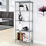 5 Tier Wire Storage Rack Shelving Unit for Organization with Adjustable Leveling Feet (Sliver)