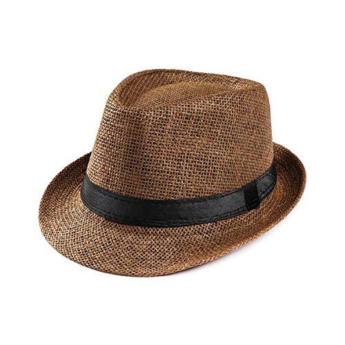Retro Bowler Jazz Hat Beach Sun Cap Classic Solid Color Unisex Caps,Dark Coffee