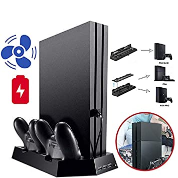 Alician USB Vertical Chargers Stand with Cooling Fan Dual Controllers Charging Station for PS4 Slim//Pro